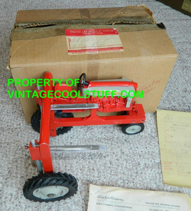 RARE 1960 Ford Prototype Die Cast Straddle Tractor & Blue Prints & Schematics