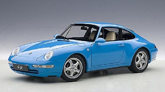 1995 Porsche 993 Carrera Metallic Blue Diecast Car by AUTOart