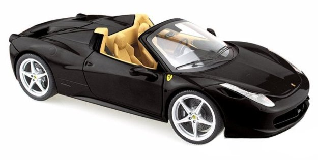 Hot Wheels Ferrari 458 Spider 1:24 Diecast Car Model Black