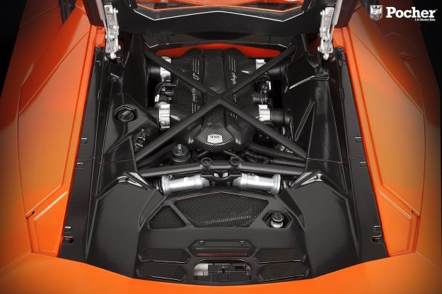 Lamborghini Aventador LP 700-4 Diecast Car 1:8 Scale Orange and White by Pocher