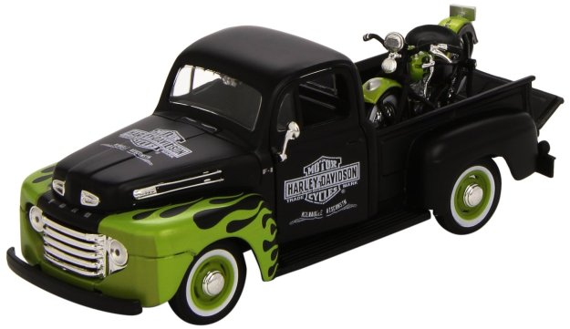 Maisto 1:24 Scale 1948 Ford F-1 Pickup and Harley Davidson 1948 FL Panhead Diecast Cars