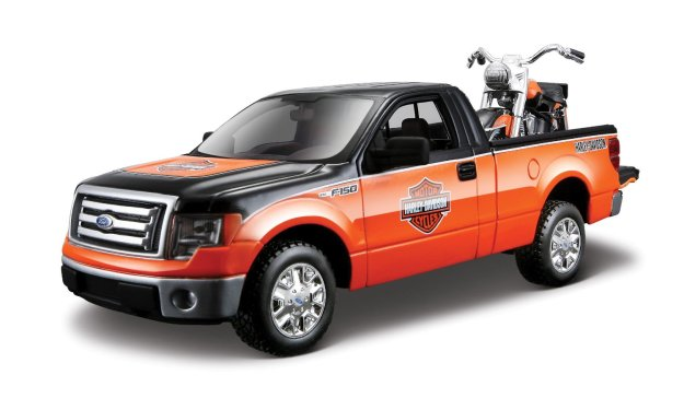 Maisto 1:24 Scale Ford F-150 STX and Harley Davidson '58 FLH Duo Glide Diecast Cars