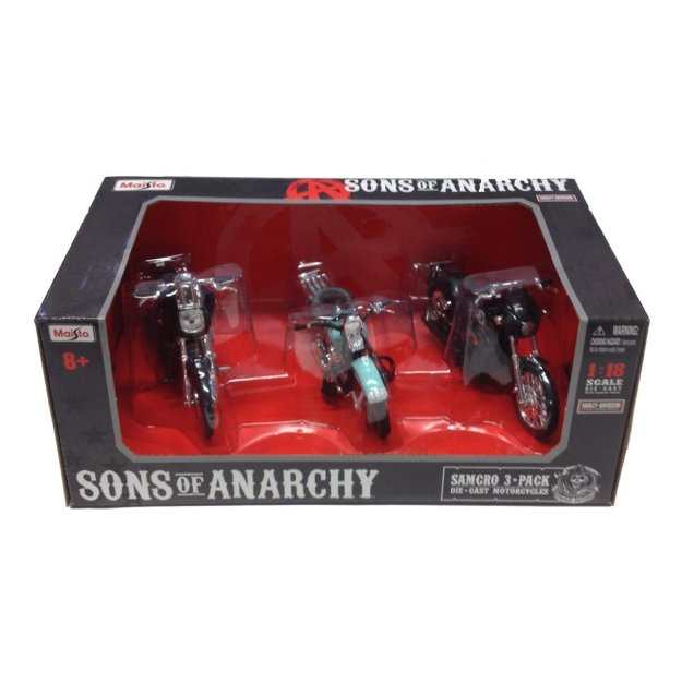 Maisto Diecast Sons of Anarchy Harley Davidson Motorcycle 3-Piece Set 1:18 Scale