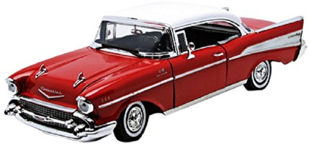 1957 Chevrolet Bel Air HT Red 1/18 Diecast Model Car by Motor Max