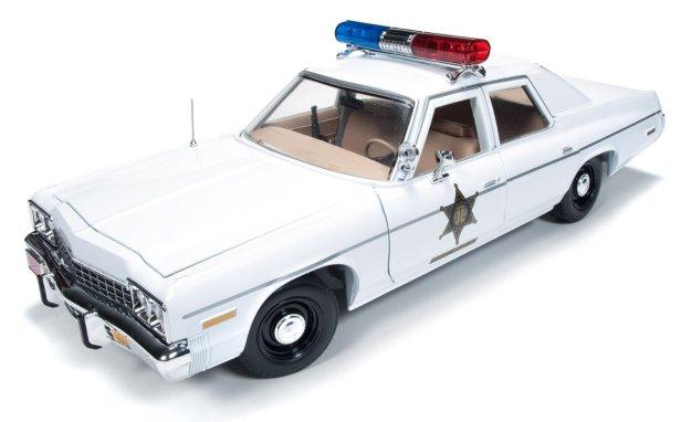 """1975 Dodge Monaco Police Pursuit """"Dukes of Hazzard"""" Diecast Car by Autoworld"""