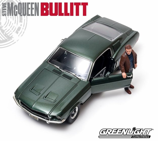 1968 Ford Mustang Bullitt GT Fastback Diecast and Steve Mcqueen Figure by Greenlight Hollywood