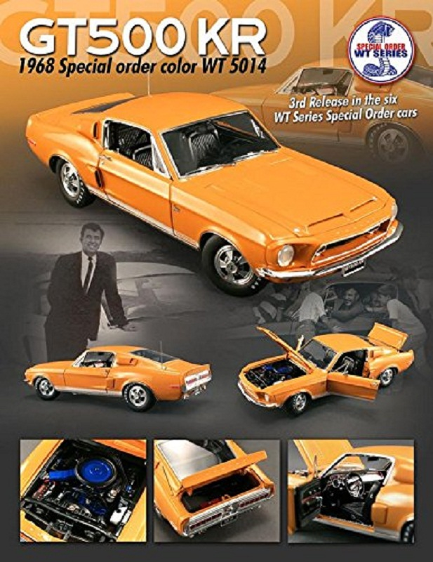 1968 Ford Shelby Mustang GT 500 KR Brilliant Orange WT 5014 Diecast Car by Acme