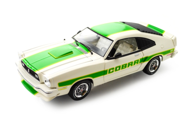 1978 Ford Mustang II Cobra II 1/18 White with Green Billboard Stripes by Greenlight Diecast
