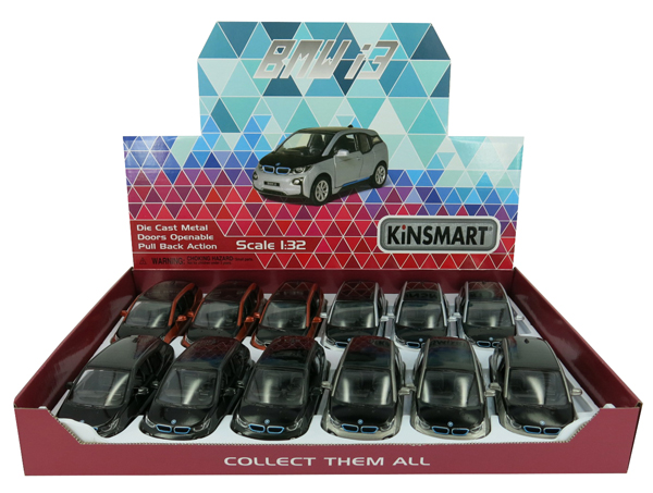 BMW i3 Assorted Tray of 12 by Kinsmart