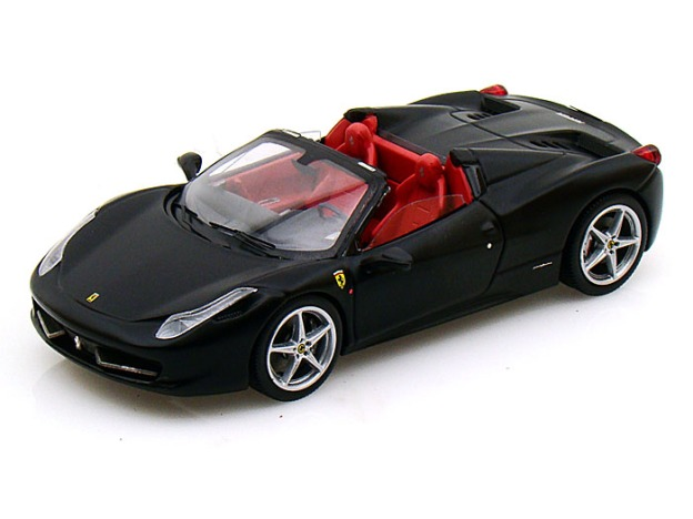 Ferrari 458 Spider Elite Matte Black 1:43 Diecast Car by Hot Wheels