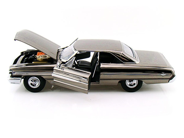 Men in Black 3 1964 Ford Galaxie 500 Agent Car Black Chrome by Greenlight Models